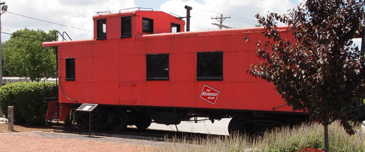 Milwaukee Railroad Caboose displayed at Tower Park, Franklin Park